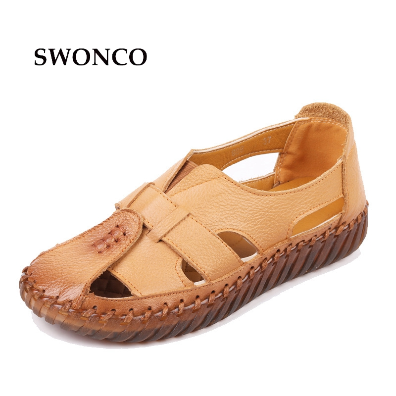 SWONCO Women's Sandals 2018 Summer Genuine Leather Handmade Ladies Shoes Leather Sandals Women Flat Casual Shoes Plus Size 43 aiyuqi 2018 new genuine leather women sandals summer flat middle aged mother sandals plus size 41 42 43 casual shoes female