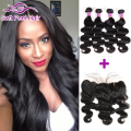 Malaysian Body Wave With Frontal Closure 13X4 Ear To Ear Lace Frontal Closure With Bundles 7A Malaysian Virgin Hair With Closure