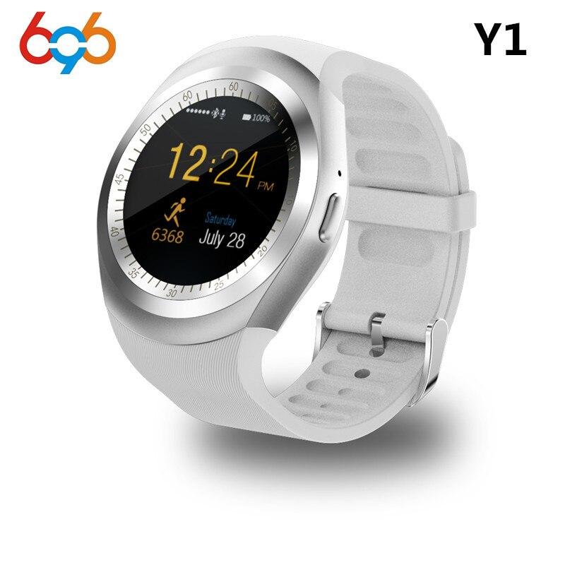 696 Bluetooth Y1 Smart Horloge Ronde Ondersteuning Nano 2G SIM & TF kaart Met Whatsapp Facebook App Voor IOS & Android Telefoon PK DZ09 GT08