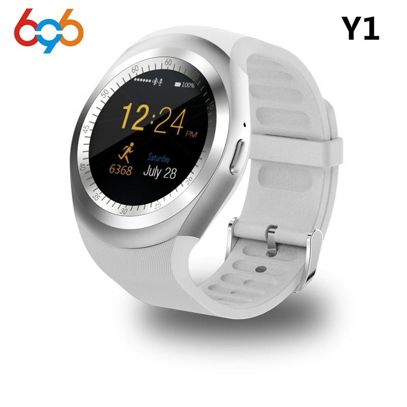 Y1 696 Bluetooth Relógio Inteligente Apoio Rodada Nano 2G SIM & TF cartão Com Whatsapp Facebook App Para IOS & Android PK Telefone DZ09 GT08