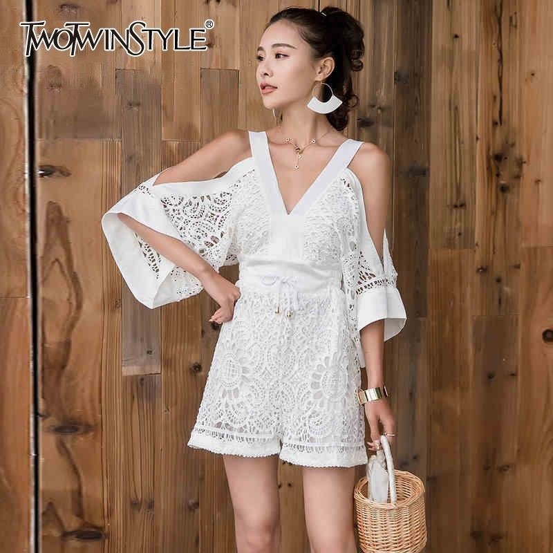 TWOTWINSTYLE Summer Beach Hollow Out Women Jumpsuit V Neck Off Shoulder Backless High Waist Bandage Playsuit Female Fashion 2019