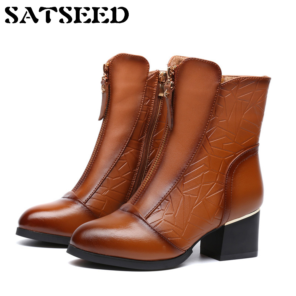 2017 Autumn Women Winter Boots Genuine Leather Shoes New Single Boots Ankle Boots England Martin Pointed Boots Square Heel New 2017 new anti slip women winter martin