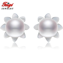 FEIGE 6-7mm White Natural Pearls 925 Sterling Silver Stud Earrings For Womens Exclusive Design Shell Carvings Fine Jewelry