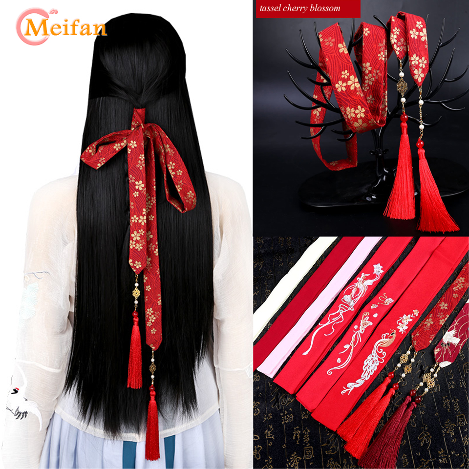 MEIFAN Chinese Ancient Style Embroidery Hair Band Hanfu Tassel Hair Ribbon Chiffon Hair Rope Traditional Hair Accessories