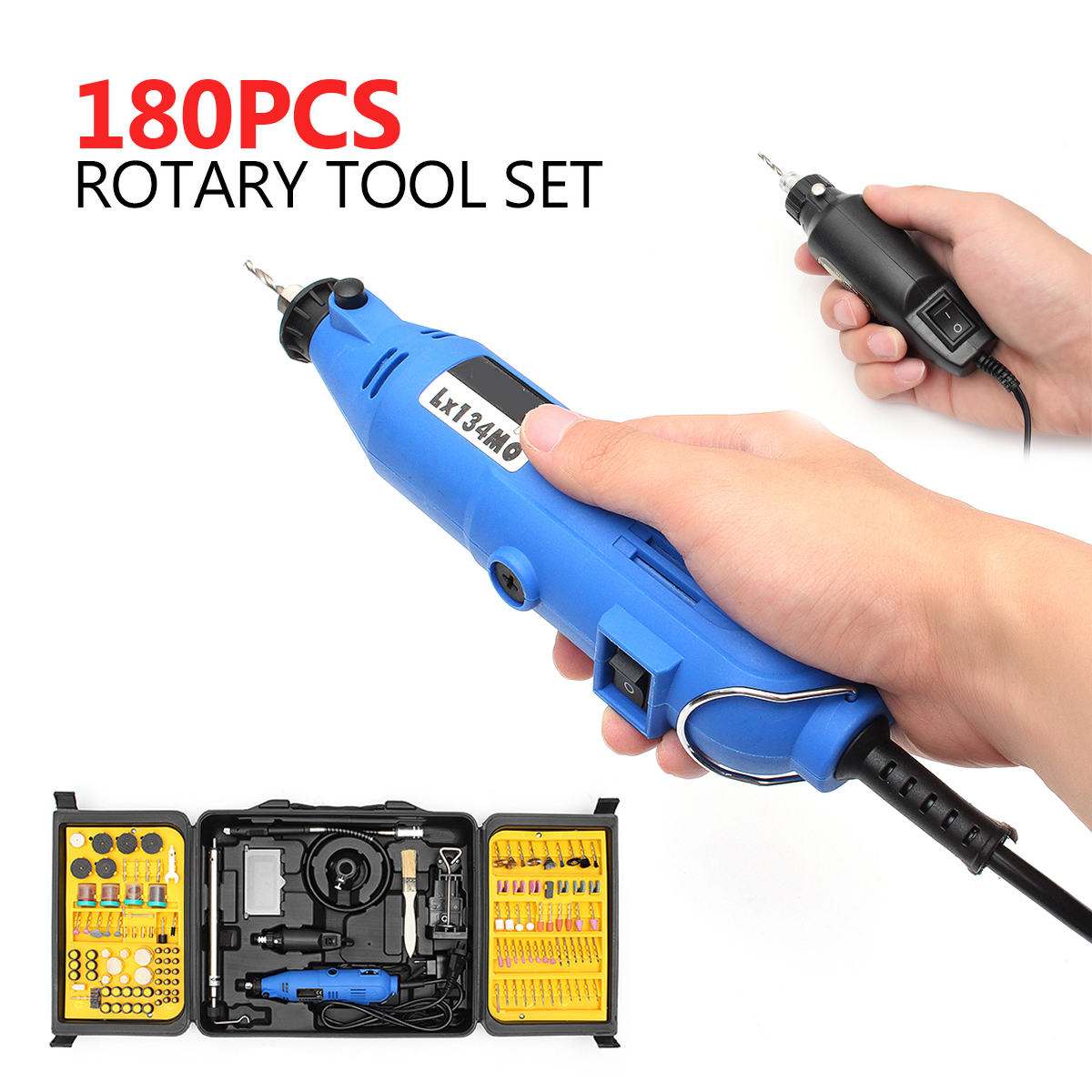 180Pcs Mini Rotary Tool Set Electric Drill Grinder Engraver Sander Polisher Craving DIY Power Tools Accessories