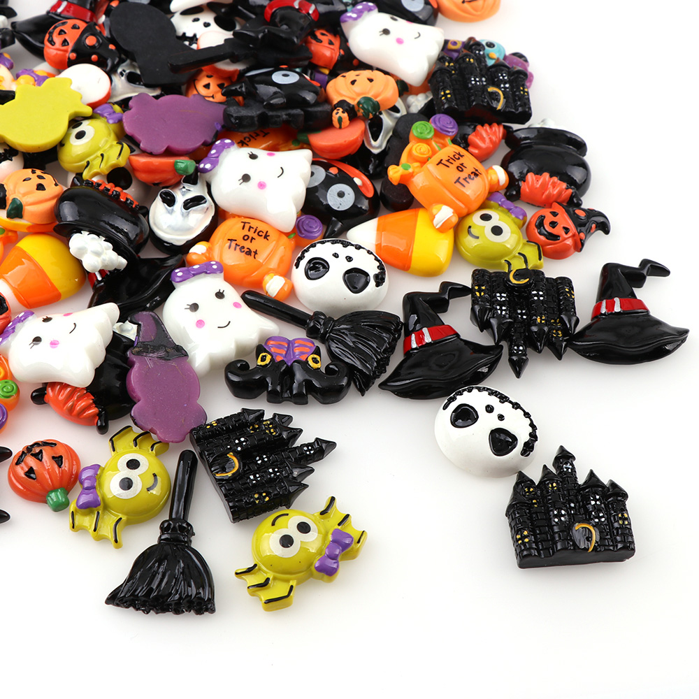 50PC  Hallowee Broom Horse Pumpkin Cloud Resin Flatback Cabochon Kawaii DIY Craft Decoration Miniature Resin Halloween  For DIY
