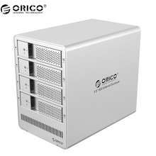 ORICO Aluminum 4 bay 3.5 inch SATA Drive Enclosure USB3.0 4*8TB Tool Free with 12V6.5A Power Adapter 9548U3-V1 Silver