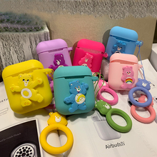 Tfshining For Apple AirPods Case Cute Cartoon 3D Bear Earphone Bluetooth Wireless Protective Cover Silicone With Strap