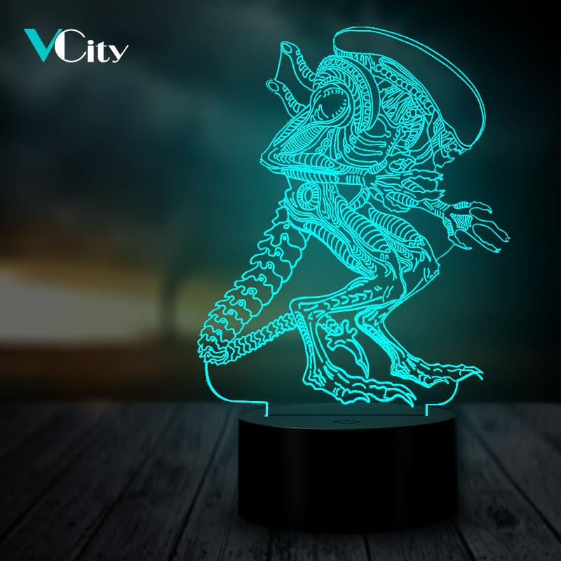 VCity Alien Xenomorph 3D Night Light Luminaria Lamp  LED USB Multicolor Table Desk Decor Horror Movie Gifts For Fans Lighting
