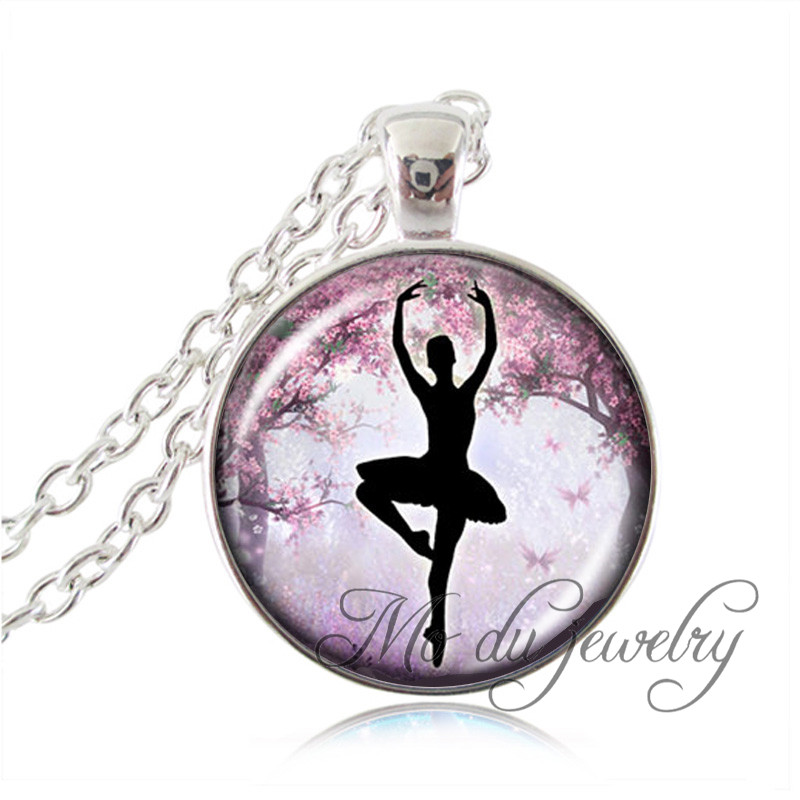Ballerina silhouette pendant ballet dancer necklace silver chain ballerina silhouette pendant ballet dancer necklace silver chain art photo long necklace glass cabochon statement necklace women in pendant necklaces from mozeypictures Image collections