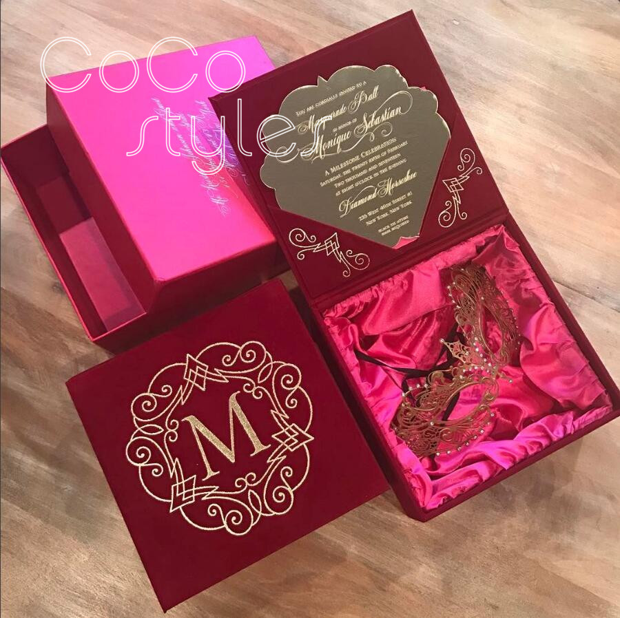 Cocostyles custom super luxury hot pink velvet box with silk print ...
