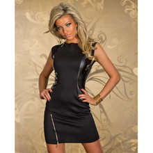 Черное лоскутное женское летнее сексуальное облегающее платье без рукавов из лакированной кожи, женское вечернее мини-платье-карандаш, Клубная одежда для ночного клуба