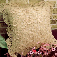 100%Cotton Woven Square Cushion Cover Stereoscopic Floral Design Handmade Crochet Pillow Cover for Home Decoration Pillow Case