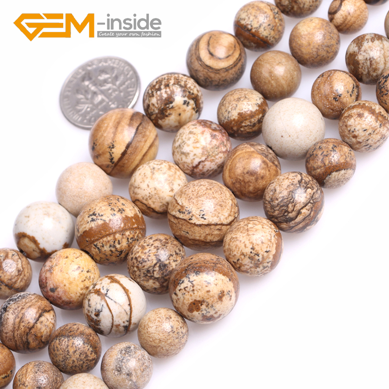 GEM-inside 6-14mm Round Graduated Picture Jaspe r Beads Natural Stone Beads Loose Beads For Jewelry Making Strand 15 Gifts