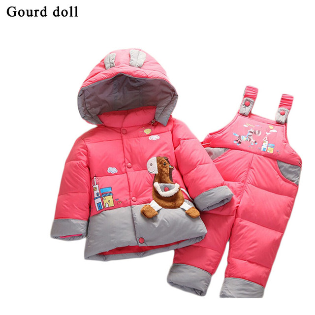 Детские младенческой мальчик в девочке теплая зима комбинезон детский зимний комбинезон верхняя одежда пальто розничная малыш ползунки вниз парки куртки одежда устанавливает 6-24 месяц