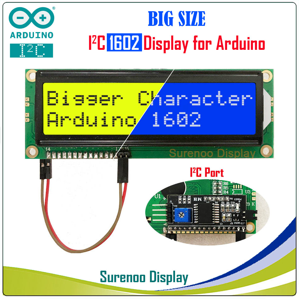 Serial IIC / I2C / TWI 1602 162 16*2 Larger Character LCD Module Display Yellow Green Blue with Backlight for ArduinoSerial IIC / I2C / TWI 1602 162 16*2 Larger Character LCD Module Display Yellow Green Blue with Backlight for Arduino