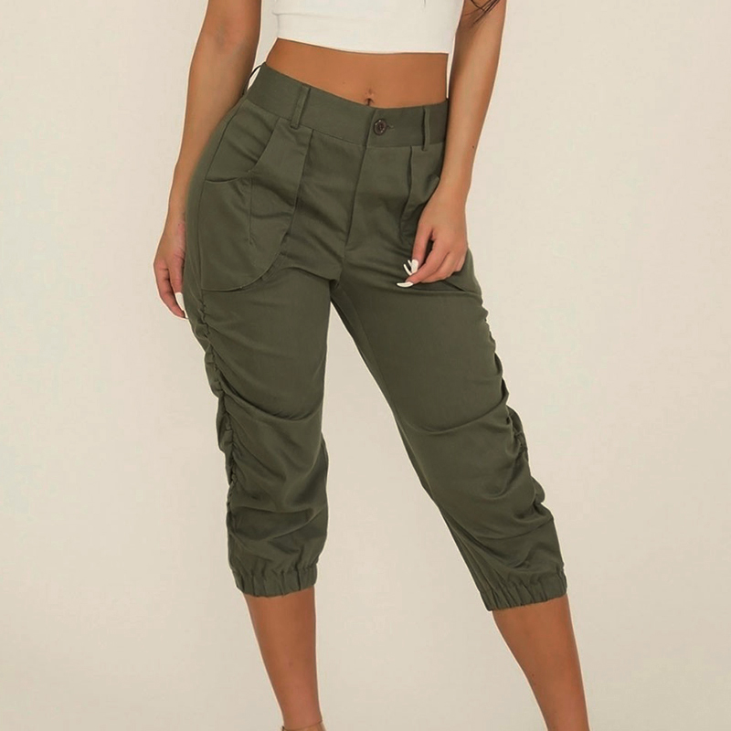 ​  Women Pants Military Style Fashion High Waist Solid Cropped Capri Casual Tapered Ladies Pencil Trousers