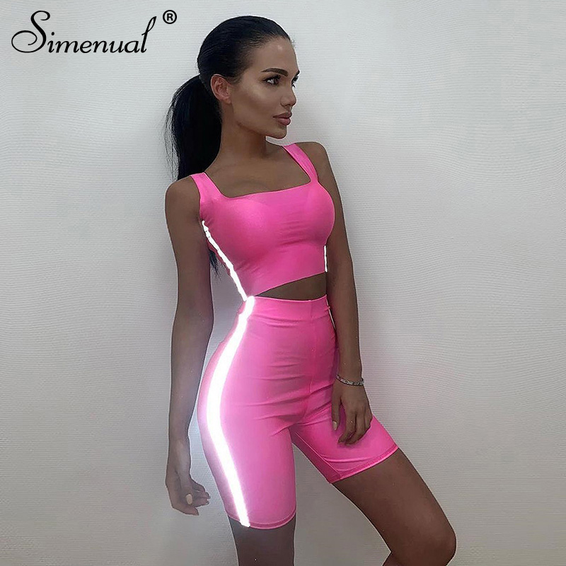 Simenual Casual Reflective Striped 2 Pieces Sets Women Fitness Neon Color Outfits Tank Top And Biker Shorts Set Summer Fashion