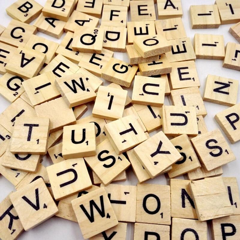 100Pcs Wooden Alphabet Scrabble Tiles Black Letters & Numbers For Crafts Wood Digital Puzzle
