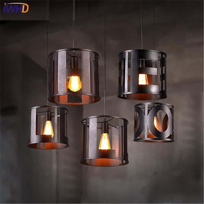 IWHD Loft Style Iron English Letter Droplight Edison Industrial Wind LED Pendant Light Fixtures For Dining Room Hanging Lamp simple bar restaurant droplight loft retro pendant lamp industrial wind vintage iron hanging lamps for dining room