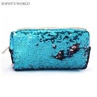 Glitter Sequins Women Bag Zipper Travel Cosmetic Bag Organizer Makeup Bag Korean Cosmetic Case Portable Wash