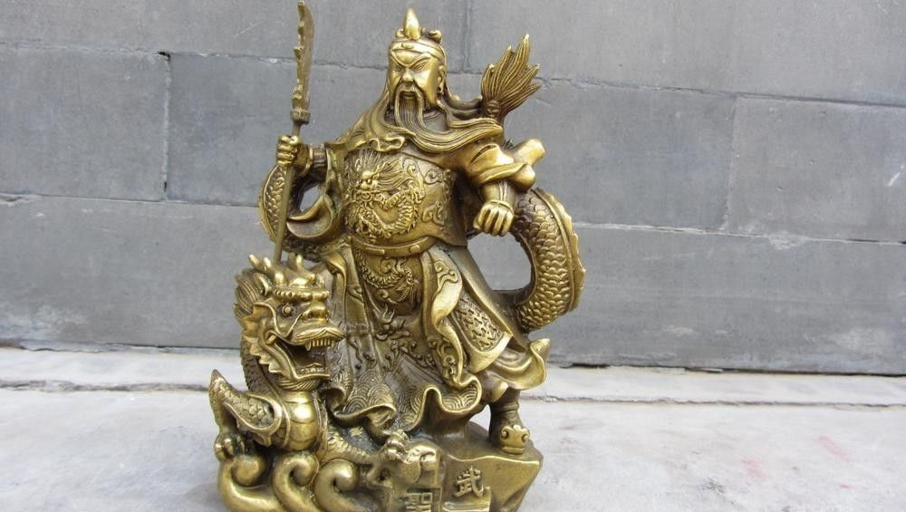 China Folk Brass Copper Stand Dragon Guan Gong Guan Yu Wu Sheng Warrior Statue|statue of liberty fabric|gongs history|statue of liberty 3d puzzle - title=