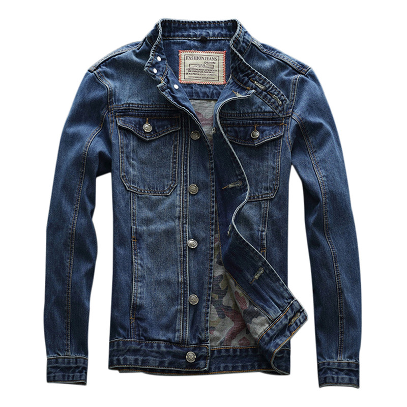 MORUANCLE Men's Fashion Paded Jean Jackets Classic Biker Denim Trucker Jacket And Coat Washed Motorcycle Outerwear Stand Collar
