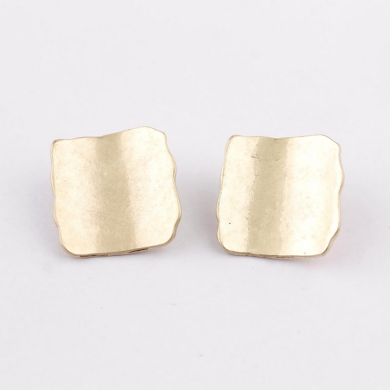 Hammered Texture Polished Metal Minimalist Dainty Button Studs Earrings for Women Geometry Metallic Studs Group Buying Suppliers