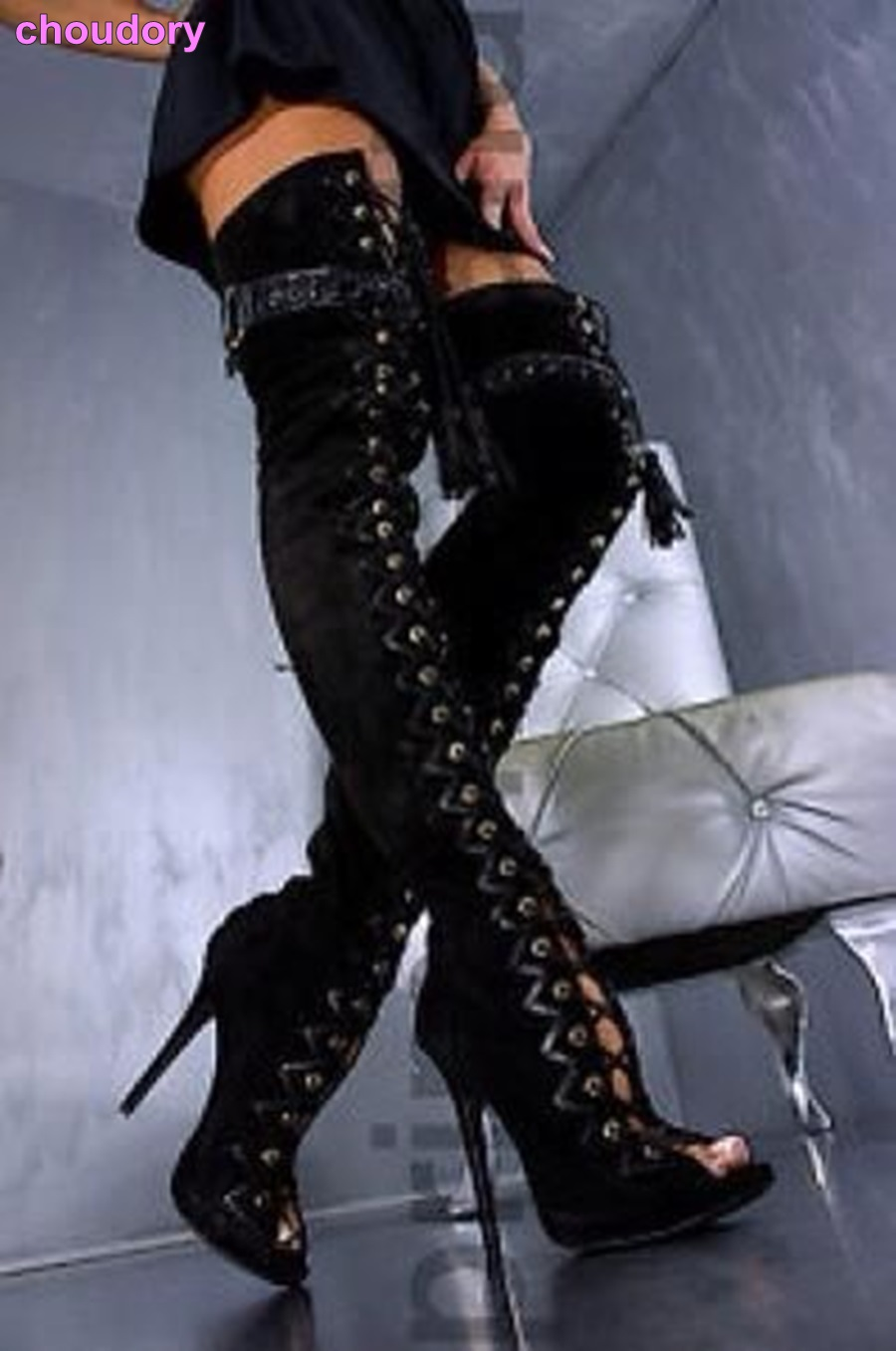 Sexy Black Brown Snakeskin Long Boots Over The Knee Peep