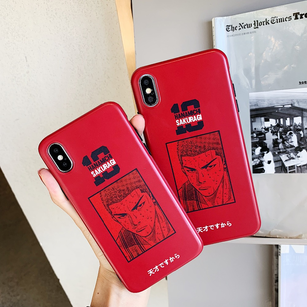 Japanese cartoon slamdunk Hanamichi Sakuragi Phone case for iPhone 6 6s 7 8 Plus Soft IMD Red Phone cover for iPhone X XS XR Max feature phone