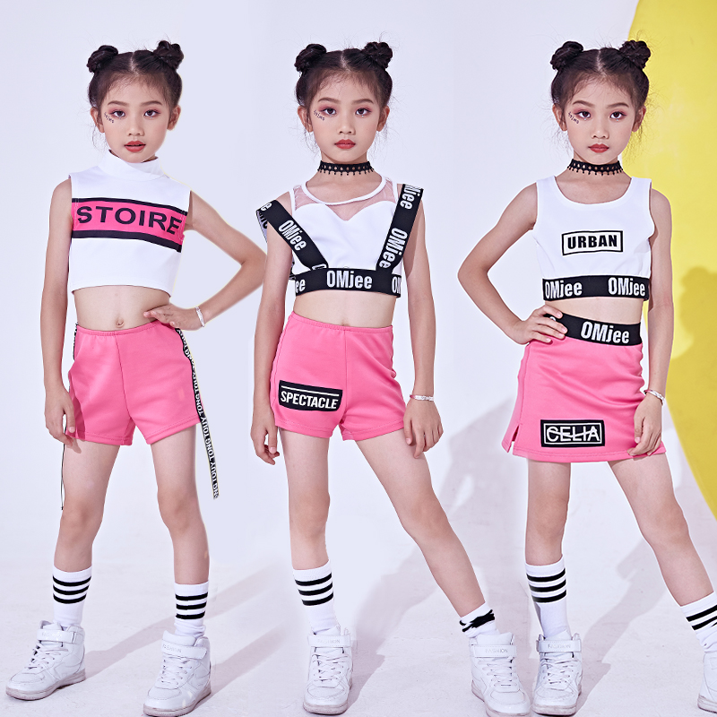 New Hip Hop Kids Jazz Pink Cheerleading Dance Costumes Stage Outfit Girls Child Jazz Street Dancing Performance Clothes DNV10143