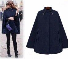 Woman Winter Turtleneck Sleeve Long Cape England Style Vintage Woolen Coats Loose High Street Luxury Winter Cape