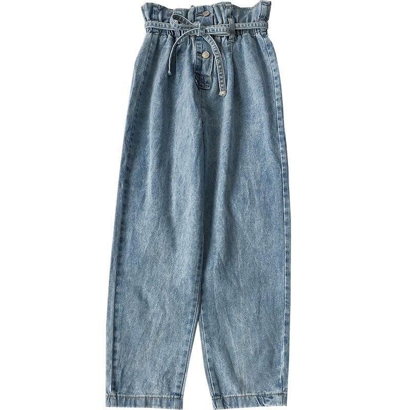 Korean Fashion Blue Jeans Woman Washed High Waist Jeans Casual Elastic Waist Pockets Denim Pants Pantalones Vaqueros Mujer