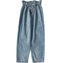 Korean Fashion Blue Jeans Woman Vintage Washed High Waist Jeans