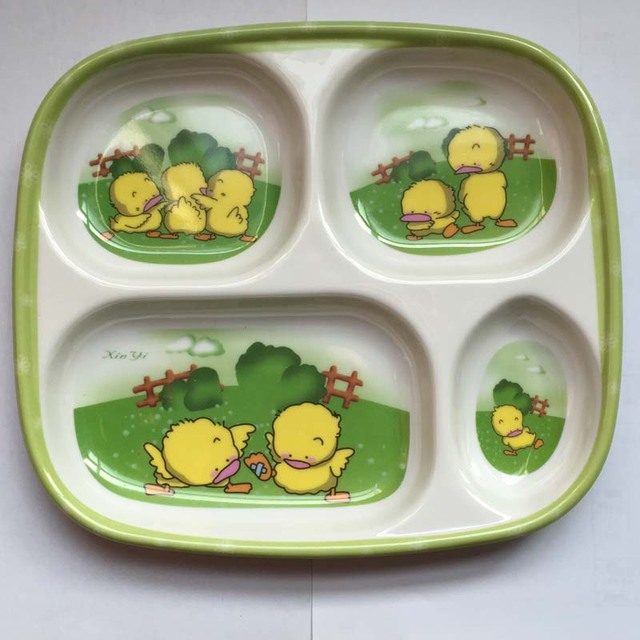 children separate divided food trays tableware plate cartoon child
