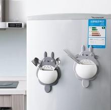 Cute Totoro Bathroom Storage Rack Keys Holder Kitchen Hook 3 Vacuum suction cups Storage Box On Wall Door Refrigerator sweet lovers keys storage hooks with memo pad set suction cups 1kg max load