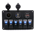 2016 New 12-24V 6 Gang Waterproof Car Auto Boat Marine LED Rocker Switch Panel Circuit Breaker Free Shippings Free Shipping