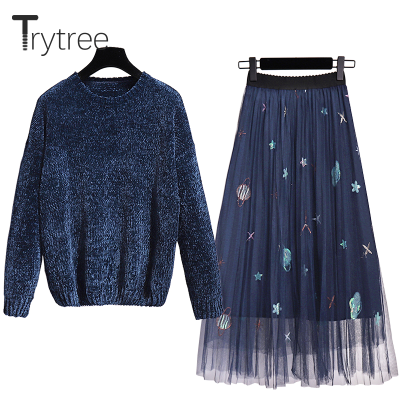 Trytree Autumn Winter Women Two Piece Set Romantic Shining Sweater Top + Skirt Appliques Mesh Elastic Waist Suit Set 2 Piece Set