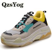 QzsYog Big Size 36 46 Couple Sport Running Shoes Air Mesh Breathable Outdoor Cushion Sneakers Athletic