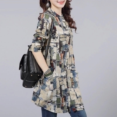 2016 spring Plus Size Long  Women Blouse Brand New Fashion Collar  Shirts Women Casual Cotton Linen Blouses Female Tops 11I 25