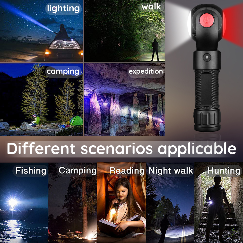 Купить с кэшбэком LED Flashlight COB Work light Creative portable lighting 360 degree rotating lamp head Used for camping adventure night outdoors