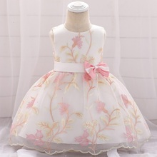 цена на MQATZ Embroidery First 1st Birthday Dress For Baby Girl Clothes Summer Baptism Dress Mesh Princess Dresses Girl Party 0-24 Month