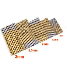 цена на 50 Pcs drill bit set HSS 4241 Titanium Coated Twist Drill Bits Tool Set Metric System drill bit woodworking punte trapano