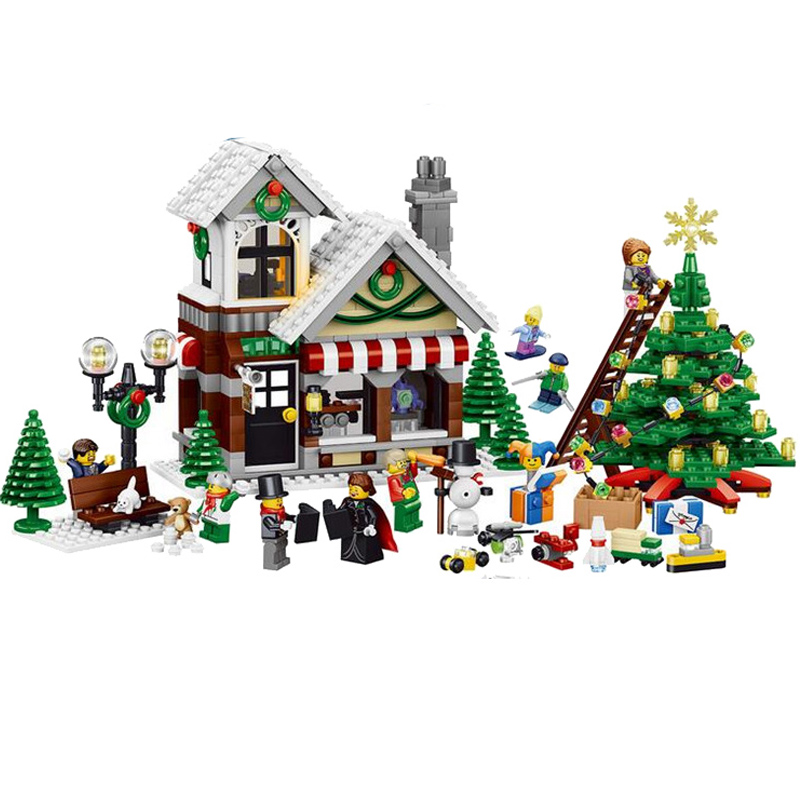 Lele Minecraft 945Pcs My World Snow Christmas hut house Model Kits  figures Building Bricks Blocks Toys for children