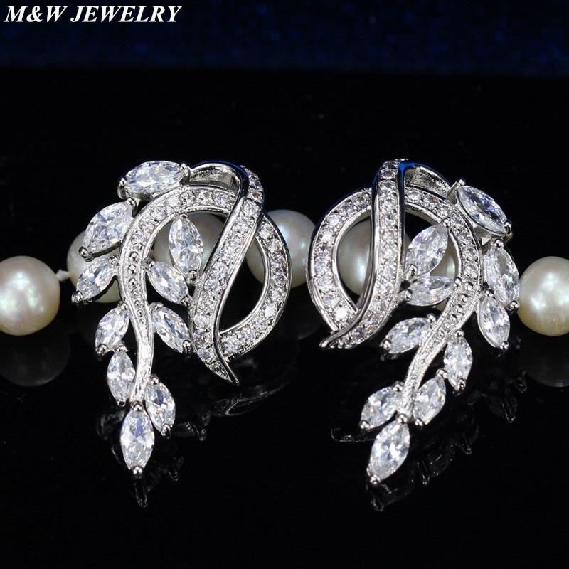 M&W JEWELRY new zircon earrings for women fashion 2017 fashion earrings hot earrings