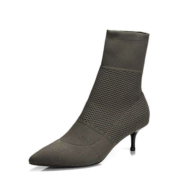 2018 Herfst Nieuwe Mode Enkel Elastische Sok Laarzen Chunky Hoge Hakken Stretch Vrouwen Herfst Sexy Booties Wees Teen Vrouwen schoenen