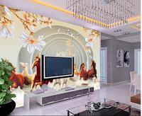 TV Backdrop Bedroom Photo Wall Paper 3d Horse Magnolia Photo Wallpaper High Quality 3D Stereoscopic