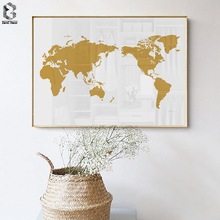 Nordic Home Decoration Minimalist World Map Mordern Posters and Prints Canvas Paintings on The Wall Bedroom Pictures
