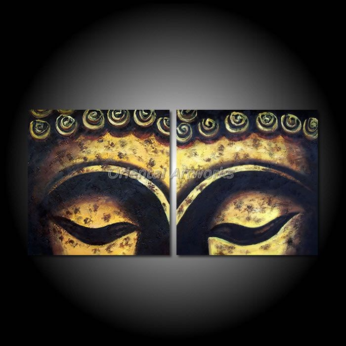 Handpainted Oil Painting On Canvas 2 Panels Modern Religion Buddha Face Painting  Canvas Wall Art Pictures