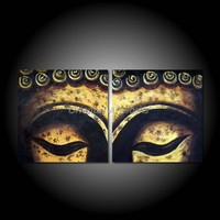 Handpainted Oil Painting on Canvas 2 Panels Modern Religion Buddha Face Painting Canvas Wall Art Pictures For Living Room 24*24